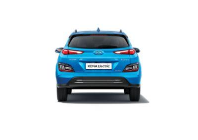 Vue arrière du nouveau Hyundai KONA Electric avec son bouclier arrière et son sabot de protection.