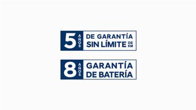Garantía de kilometraje ilimitado de 5 años y garantía de batería de 8 años.
