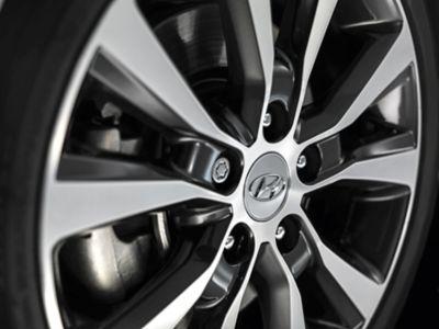 Closeup of genuine accessory wheels of Hyundai.