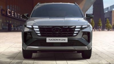 Frontview of the all-new Hyundai TUCSON Hybrid N Line in shadow gray.