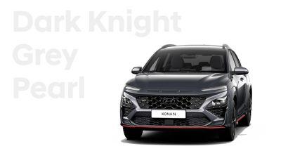 Hyundai KONA N performance SUV in Dark Knight Grey Pearl.