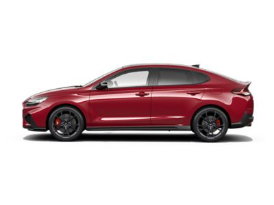 colour options for the new Hyundai i30 Fastback N: Sunset Red Pearl