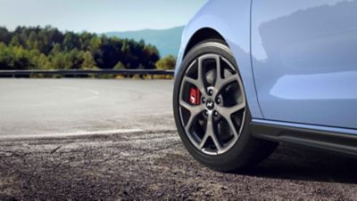 """detail of cast alloy 18"""" wheels on the new Hyundai i30 N performance hatchback"""