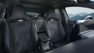 heated and ventilated front seats inside the new Hyundai i30 N performance hatchback