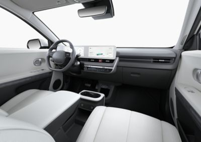 Interior view of the cockpit inside the Hyundai IONIQ 5 Project 45 all-electric compact SUV.