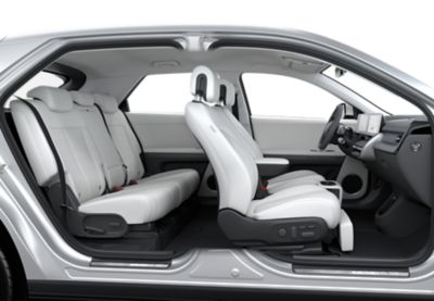Clearcut of the interior of the Hyundai IONIQ 5, showing the new electrified mobility experience.