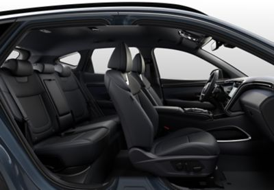 The increased roominess in the back of the all-new Hyundai Tucson Hybrid compact SUV.