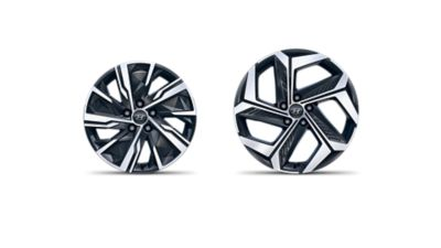 "The 17"" and 19"" alloy wheels of the all-new Hyundai Tucson Hybrid compact SUV."