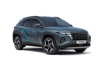 De nieuwe Hyundai TUCSON, driekwart voor met Z-vormige karakterlijn in de zijkanten.