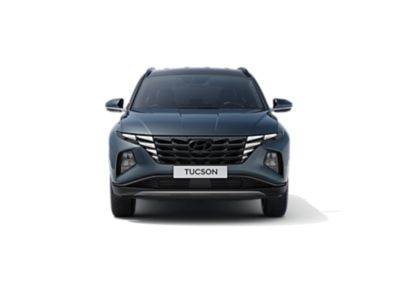 De nieuwe Hyundai TUCSON vanuit vooraanzicht, vrijstaand.