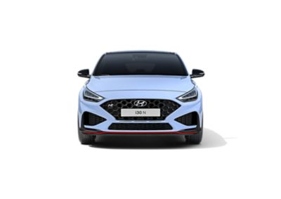 The new Hyundai i30 N from the front in Performance Blue colour.