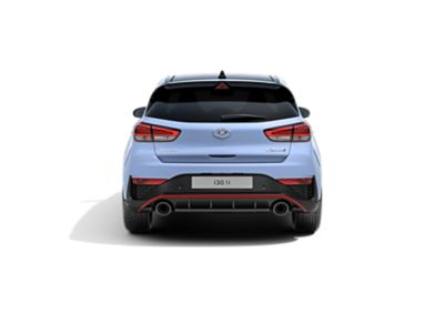 the new Hyundai i30 N from the rear in Performance Blue colour