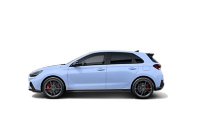 the new Hyundai i30 N from the side in Performance Blue colour