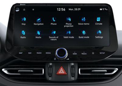 """Menú de la pantalla mejorada de 10,25"""" del nuevo Hyundai i30 N."""