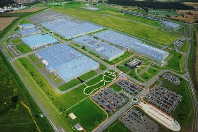 An aerial view of a Hyundai manufacturing facility.