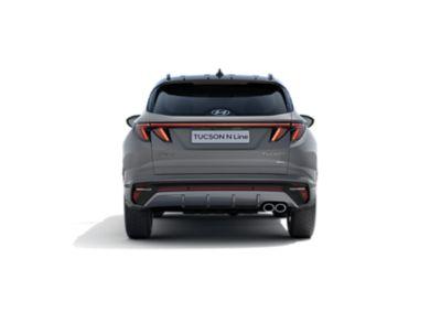 Vue de trois-quarts arrière gauche de Hyundai TUCSON N Line Nouvelle Génération couleur Shadow Grey.