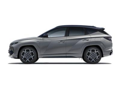 Vue de profil côté conducteur de Hyundai TUCSON N Line Nouvelle Génération couleur Shadow Grey.