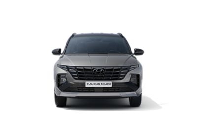 The all-new Hyundai TUCSON Hybrid N Line in shadow gray, seen from the front.