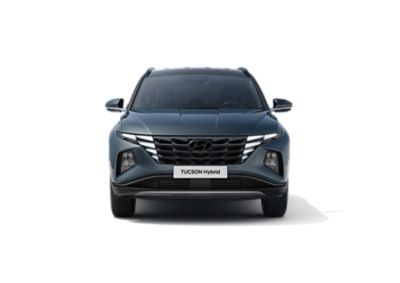 The all-new Hyundai Tucson Hybrid compact SUV pictured from the front.