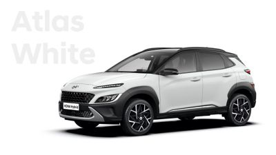 The new great variety of colour options of the new Hyundai Kona Hybrid: Atlas White.