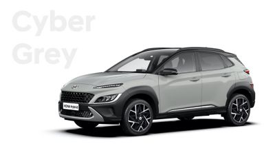 The new great variety of colour options of the new Hyundai Kona Hybrid: Cyber Grey.