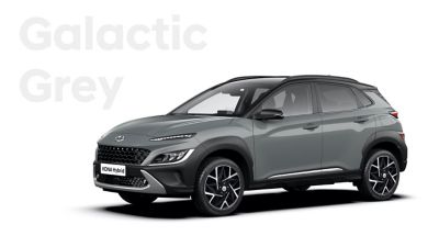 The new great variety of colour options of the new Hyundai Kona Hybrid: Galactic Grey.