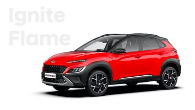 The new great variety of colour options of the new Hyundai Kona Hybrid: Ignite Flame.