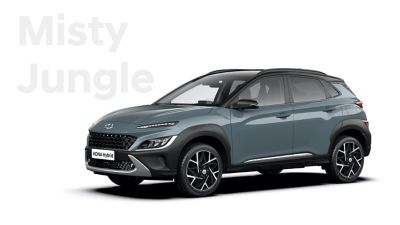 The new great variety of colour options of the new Hyundai Kona Hybrid: Misty Jungle.