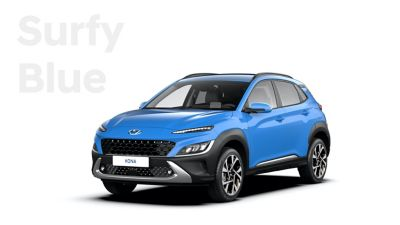 The new great variety of colour options of the new Hyundai Kona: Surfy Blue.