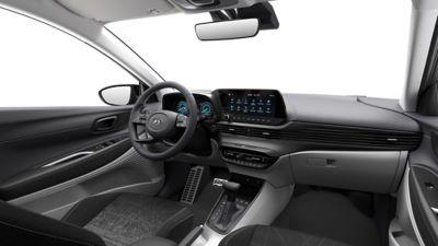 Vista interna dei sedili anteriori all'interno del Nuovo Urban SUV compatto Hyundai BAYON