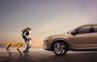 Boston dynamics Spot and Atlas, facing a Hyundai NEXO.