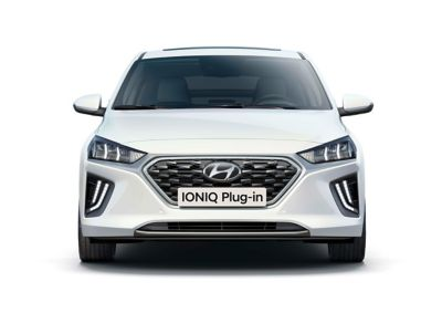 The new Hyundai IONIQ Plug-in Hybrid shown from front.