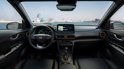 Nowy Hyundai KONA Hybrid wnętrze orange,