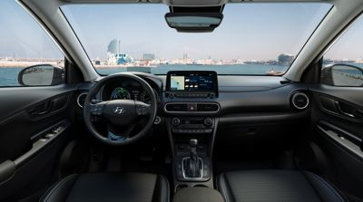 Image showing the interior of the all-new Kona Hybrid.