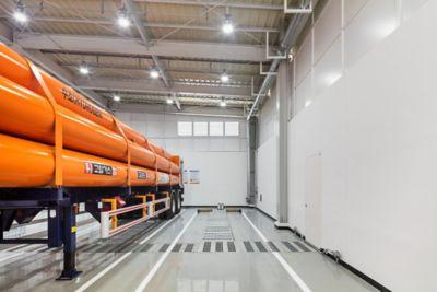 Inside a hydrogen storage facility.