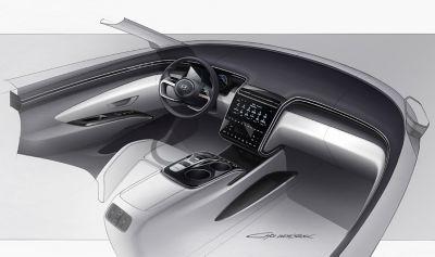 Design sketch of the all-new Hyundai Tucson compact SUV futuristic cockpit.