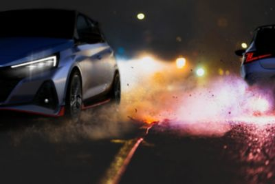 Nowy Hyundai i20 N ujęcie nocą.