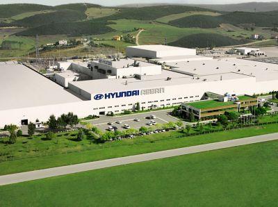 Hyundais produksjonsanlegg i Assan sett ovenfra. Foto.