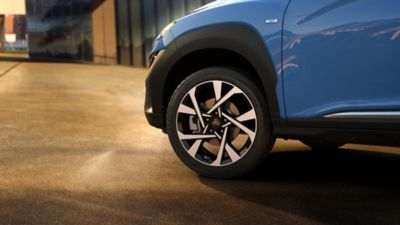"The 16"" and the new 17"" and 18"" alloy wheels of the new Hyundai Kona."