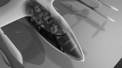 Nærbilde av cockpit og kabin i en Hyundai UAM. Illustrasjon.