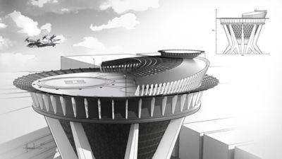 Skisse av høy bygning med landeplass for luftfarkoster. Illustrasjon.
