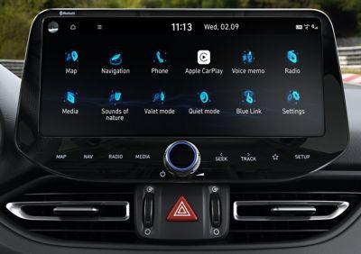 """menu screen of the upgraded 10.25"""" touchscreen insidethenewHyundai Fastback N"""