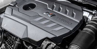 Detail of the turbocharged engine inside the new Hyundai i30 N performance hatchback.