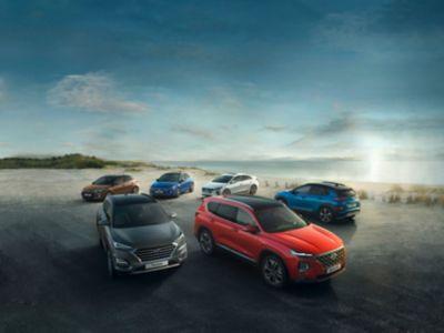 Six Hyundai cars