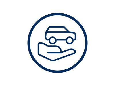Icona mano con sopra auto