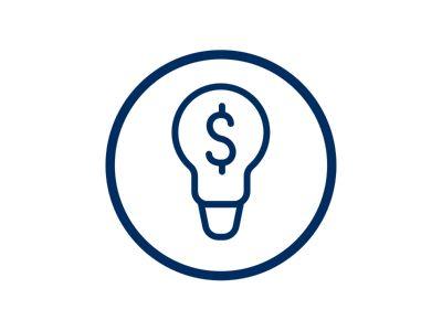 Icona lampadina simbolo dollari
