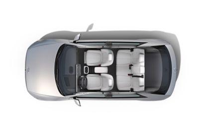 Projekt wnętrza kokpitu elektrycznego SUV-a Hyundai IONIQ 5 średniej wielkości.