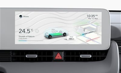"The 12.3"" infotainment touchscreen inside of the Hyundai IONIQ 5 Project 45 all-electric CUV."