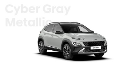 The new great variety of colour options of the new Hyundai Kona Hybrid: Cyber Grey Metallic.