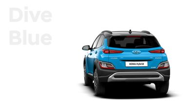 The new great variety of colour options of the new Hyundai Kona Hybrid: Dive Blue.